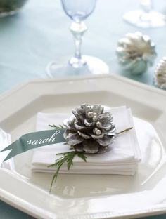 name card..cute idea for R's family table & wedding party at table..small pinecones w/ paint, glitter. Use silver metallic pin on ribbon.