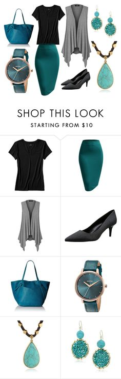 """""""Casual Teal Wear To Work"""" by indraniy on Polyvore featuring Banana Republic, Nine West, Danielle Nicole, Nixon, Lucky Brand and Panacea"""