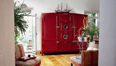 Italian fridge makers, Meneghini, produce truly beautiful fridges that compliment a stylish home. Pictured here is the three-door version of the Meneghini La Cambusa Tall Cabinet Storage, Locker Storage, Kitchen Storage, Refrigerator Freezer, Luxury Gifts, Home Kitchens, Dream Kitchens, My Dream Home, Bazaars