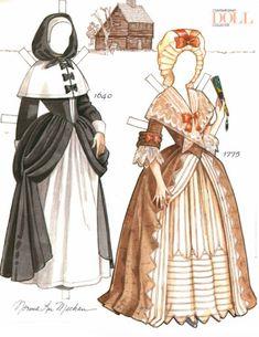 Colonial American Woman Paper Doll   Gabi's Paper Dolls