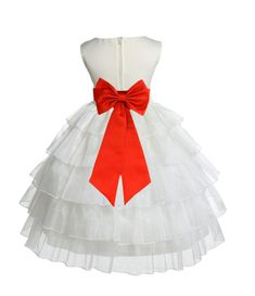 Ivory Tired Organza Flower Girl Dress Formal Wear Special Occasions Wedding Beauty Pageant 308T2