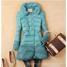 New2014 Desigual Fashion Winter long thiken lace Brand Down jackets for womens Parka&coat trench brazer outerwear casual dress 3-inDown & Pa...