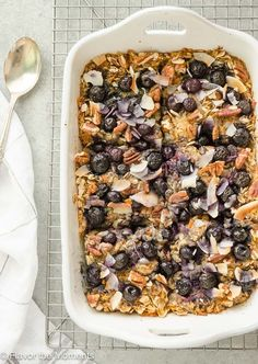 Blueberry Morning Glory Baked Oatmeal is a wholesome baked oatmeal packed with blueberries, grated carrot and apple. It's a hearty, nutritious breakfast perfect for weekdays or a special brunch! /FlavortheMoment/