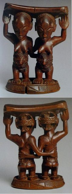 Africa | Headrest from the Luba people of Zaire (DR Congo) | Wood