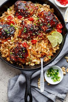 One Skillet Thai Chicken Thighs + Noodles! A sticky, Thai inspired chicken recipe served with Thai Rice noodles, cooked in one skillet!   http://cafedelites.com