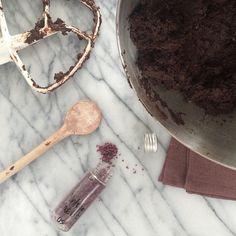 """Dark cookie batter | vintage merlot sea salt and cacao nibs inside & a cup of coffee #Geraldinecooks #cookies"""