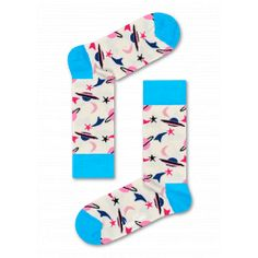 Step out on an extra-terrestial adventure with our Space socks. A soft cream background contrasts with a vivid ice blue heel, toe and cuff, but the real star is the brilliant pattern of shooting stars, planets and crescent moons in black, hot pink, teal, pale pink and coral pink. A must for any aspiring astronaut's sock drawer. Combed cotton makes them cosy to wear, and they're available in men's and women's sizes.