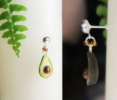 Avocado Earrings Fruit jewelry Miniature food by TheJewelSaga