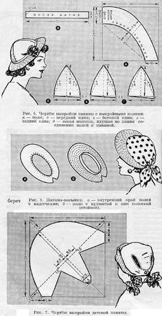 other vintage hat patterns at this Russian site Techniques Couture, Sewing Techniques, Barbie Patterns, Vintage Sewing Patterns, Hat Patterns, Costume Carnaval, Hat Tutorial, Hat Crafts, Diy Hat