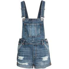 Denim Bib Overall Shorts $39.99 ❤ liked on Polyvore featuring shorts, short overalls, denim shorts, distressed shorts, denim short overalls and ripped shorts