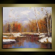 Original Oil Painting Modern Palette Knife fine art  Birch tree landscape wall decor on Canvas  Ready to Hang by Qujun 20 by 24 13 - 235