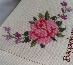 This Pin was discovered by Olg Cross Stitch Borders, Cross Stitch Rose, Cross Stitch Flowers, Cross Stitch Charts, Cross Stitch Patterns, Crochet Patterns, Basic Embroidery Stitches, Hand Embroidery Designs, Cross Stitch Embroidery