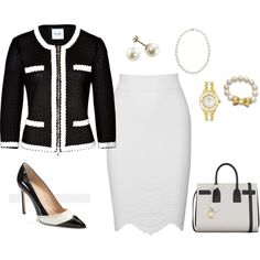 A fashion look from March 2014 featuring Moschino Cheap & Chic jackets, Alexander McQueen skirts and Manolo Blahnik pumps. Browse and shop related looks.