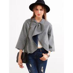 SheIn(sheinside) Grey Knotted Collar Kimono Sleeve Double Face Coat (€22) via Polyvore featuring outerwear, coats, grey, gray coat, short sleeve coat, grey coat, collarless coat en reversible coat