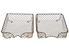 Set of Two Vintage French Wire Letter Trays - Relique