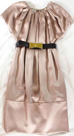 "~~~ TRES, TRES PRETTY ~~~ VALENTINO SATIN ""PLEATED"" BELTED SHIFT DRESS ~~~ 40/4 #Valentino #Shift #Cocktail"