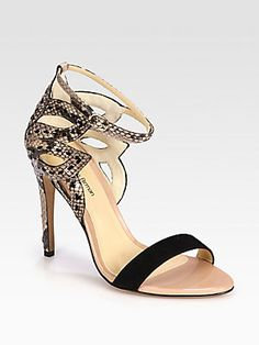 Flower Cutout Python & Suede Sandals by Alexandre Birman