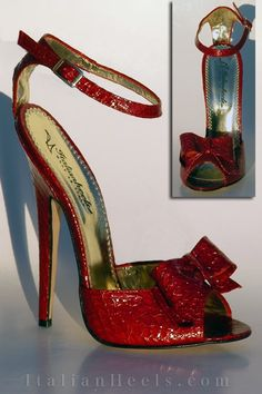 Ottilia #1815- Italian Heels. Red Croc Skin Bow Heels. I...