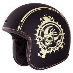 "3/4 Retro Helmet [DOT]- ""Ride All Day"" Open Face, Matte Black, Yellow Skull Helmet by IV2 (XL) IV2 http://www.amazon.com/dp/B00X08R0LQ/ref=cm_sw_r_pi_dp_AlmYwb18MMV7A"