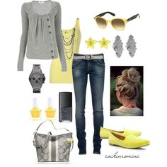 """""""yellow & gray"""" by iamrockinromine on Polyvore"""