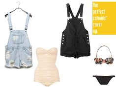 *To complete: black overall shorts, floral bikini, white one piece