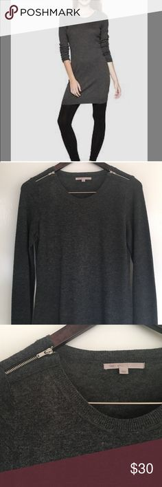 Gap wool and cashmere sweater dress Charcoal size small with zipper shoulder details. Great fall staple can we born alone or with leggings GAP Dresses Long Sleeve
