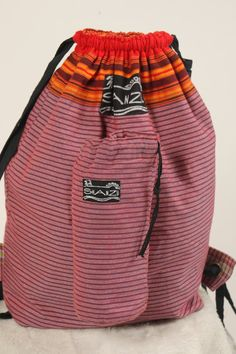 """MADE IN KENYA - Maroon Striped Backpack & Water Bottle Holder-small zipped area inside-15"""" wide x 19"""" tall-yellow stripes at drawstring top by OperationGiveHope on Etsy"""