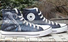 Canvas Shoes SpiderMan Grey Hand Painted Canvas Women/Men/Kids Shoes