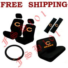 New 11pc Set NFL Chicago Bears Seat Covers Steering Wheel Cover More ...