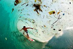 Surf Photographer Captures Waves of Trash in Indonesia - - Waves for days. Trash for eternity. That's what photographer Zak Noyle discovered on a recent trip to Java, Indonesia. The waves of Java, always known fo. Environmental Pollution, Plastic Pollution, Beach Pollution, Environmental Posters, Photo Choc, Save Our Earth, Haunting Photos, Planets, Climate Change