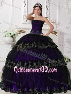 Purple Strapless Multi-tiered Pleats and Ruches Quinceanera Dresses