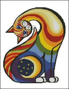 Finished Embroidery / Cross Stitch - Rainbow Cat (Canvas Size 48 x 41 cm) Cross Stitch Charts, Cross Stitch Designs, Cross Stitch Patterns, Cross Stitching, Cross Stitch Embroidery, Embroidery Patterns, Cat Quilt, Art Textile, Cross Stitch Animals