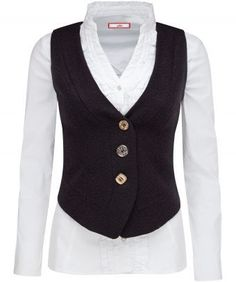 "Add a touch of enchantment to your winter wardrobe with this beautifully chic waistcoat. Fully lined and complete with a lace up back.  Approx Length: 56cm Our model is: 5'8""  Blouse  sold separately"