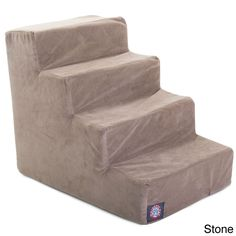 The Majestic Pet stairs are perfect for dogs or cats suffering from joint problems, aging issues, hip dysplasia, arthritis or other disabilities. These stairs are made with a faux suede slipcover that zips off for easy cleaning.