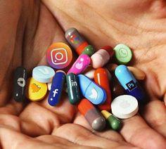 "Which ""social media pill"" is your addiction? 😳 Art by IG user aliossayran titled ""Addiction. Social Media Art, Social Media Negative, Digital Detox, Emoji Wallpaper, Bubbles Wallpaper, Mini Things, 3 Things, Medium Art, Creative Photography"