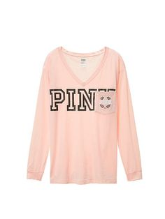 Campus Long Sleeve V-Neck Tee PINK