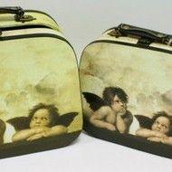"Decoratiuni vintage - Set cutii valize ""Angels"" Retro, Suitcase, Lunch Box, Bento Box, Retro Illustration, Briefcase"