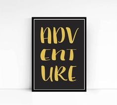 Adventure Print Teal and Gold Gold Foil Print by mixarthouse