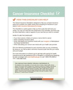 The Cancer Insurance Checklist is a new tool to help cancer patients compare plans on their state health insurance marketplace.