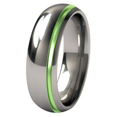 This green inset Titanium band let\'s Ryan have his Hal Jordan fantasy- but is MY favourite colour- ergo perfect for my favourite Geek :) After all if you like you put a ring on it! Ha!