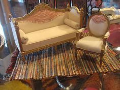 FRENCH SOFA & CHAIR NANCY SUMMERS DOLL HOUSE MINIATURE hand painted