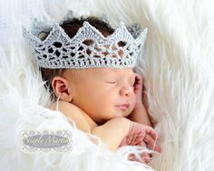 Lace Baby Crown Photo Prop. Crochet Sparkly Silver Prince or Princess Newborn Infant Costume. $14.00, via Etsy.
