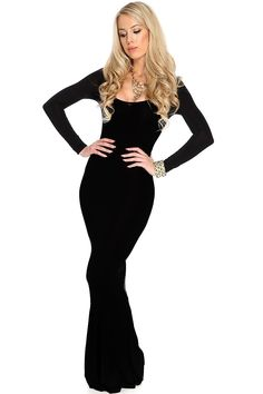 Feel and look like a mermaid when you dress to impress in this sexy maxi dress! Rock your amazing curves with this figure enchanting dress! Youll sure get compliments from ear to ear! It features scoop neck, long sleeves, mermaid hem, and tight fitted. 96% Polyester 4% Spandex.