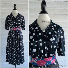 Vintage Dress  Black and White POLKA DOT by runaroundsuevintage, $38.00