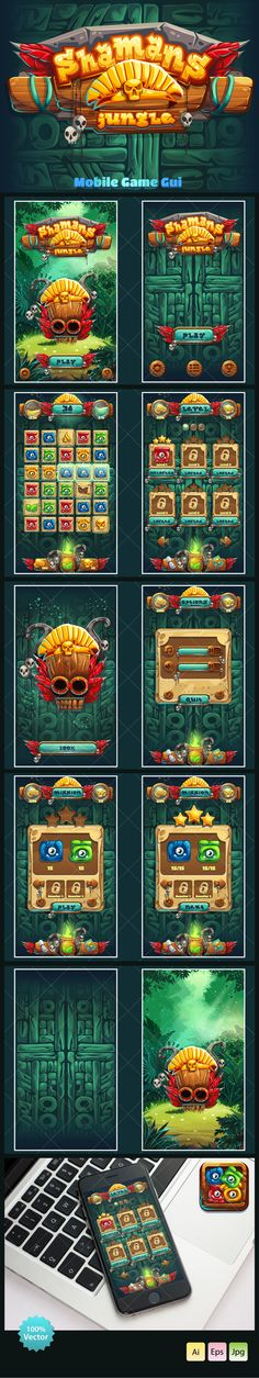 http://graphicriver.net/item/jungle-shamans-mobile-gui/15358872Complete pack of user interface elements for your web/video game Match-3 in mobile format.