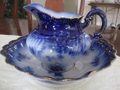 Antique WHEELING La Belle China PITCHER & wash basin BOWL flow blue RARE FIND #ArtDeco