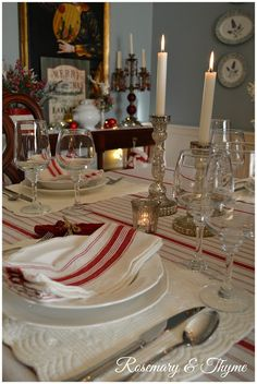 Rosemary and Thyme: 2015 Christmas Home Tour - Part 1 Christmas Home, White Christmas, Christmas Decorations, Table Decorations, House Tours, Tablescapes, Table Settings, Dining Room, Snow