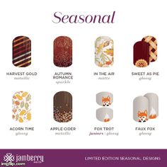 This is the whole of the new Autumn collection by Jamberry! These wraps go perfectly together to give you gorgeous mixed mani's! Jamberry Fall, Jamberry Nail Wraps, Jamberry Party, Perfect Nails, Natural Nails, Diy Nails, Apple Cider, You Nailed It, Nail Designs
