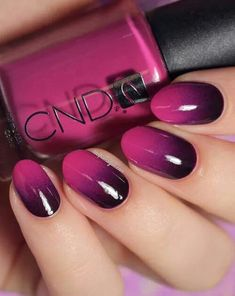 Best Ombre Nails for 2018 - 48 Trending Ombre Nail Designs - Best Nail Art Trendy Nails, Cute Nails, My Nails, Oval Nails, Shellac Nails Fall, Acrylic Nails, Gel Manicures, Cnd Shellac, Prom Nails