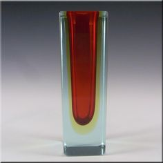 Murano Faceted Red & Amber Sommerso Glass Block Vase #2 - £60.00
